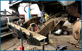 4x4 Landrover Defender chassis repair and rust treatment