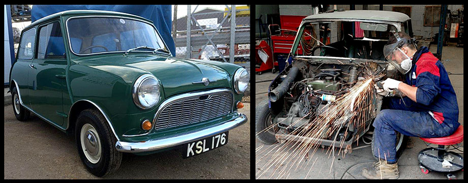 restoring old rusty Austin Mini into beautiful Classic motor vehicle.