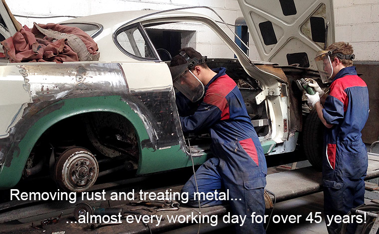 we have been removing rust and treating metal on cars almost every working day for over 45 years.