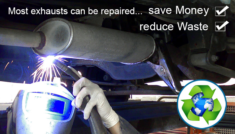 most car and van exhausts can be repaires and this saves money and reduces waste.